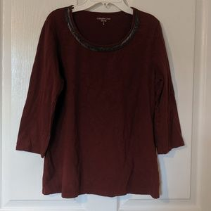 Dark Red 3/4 Sleeve Cotton Blouse Coldwater Creek